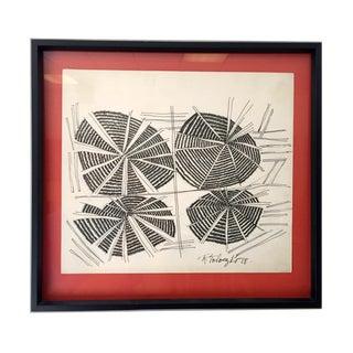 Raymond Toloczko Vintage Modern Ink Drawing For Sale