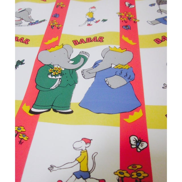 French Babar Wallpaper or Adhesive Paper - 1.5 Yrd For Sale In Phoenix - Image 6 of 8