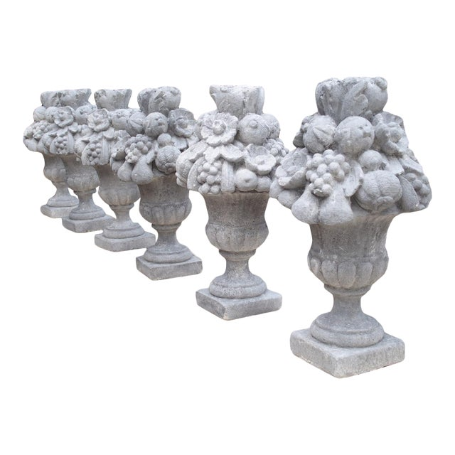 Italian Recomposed Limestone Fruit and Flower Vases (Sold Individually) For Sale