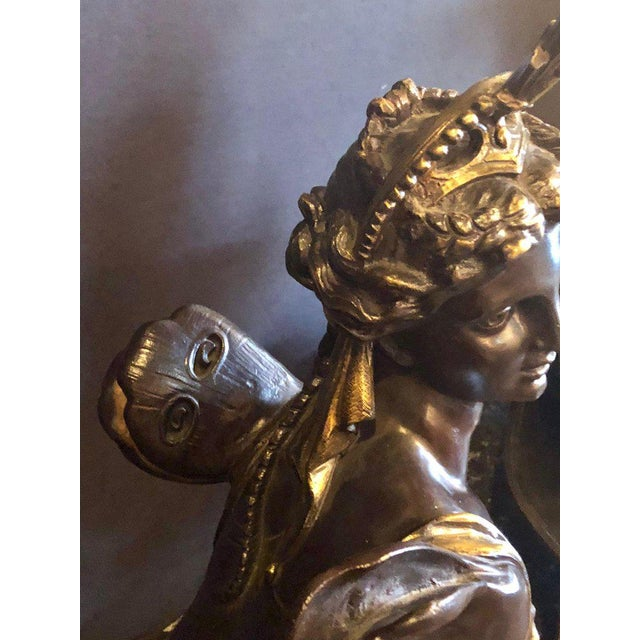 Pair of 19th Century Louis XVI Palatial Figural Fireplace Chenet / Andirons For Sale - Image 12 of 13