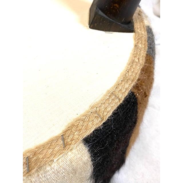 Fur Stunning Pair of Vintage Alpaca Fur Ottomans Foot Stools For Sale - Image 7 of 8