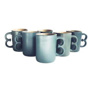 Vintage Blue Handmade Pottery Mugs - Set of 6 For Sale