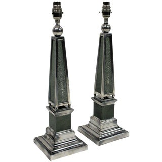 A Pair Of Shagreen & Silver Plated Obelisk Lamps