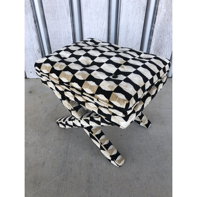 1970's Billy Baldwin style X Bench. New upholstery in fabric designed by Kate Spade fabric. Two benches are available.