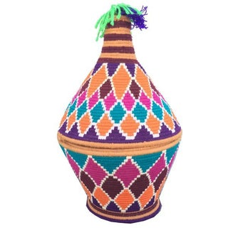 Moroccan Hand-Woven Multicolor Basket For Sale