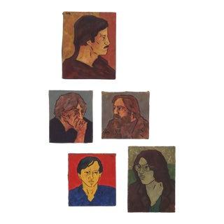 Group of Original Pop Era Portrait Paintings Dated 1973 Signed Richard Dean For Sale