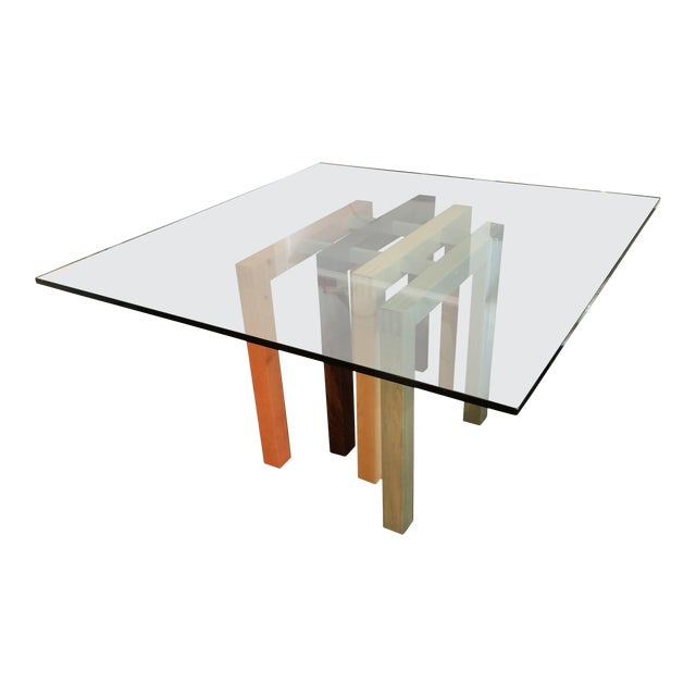 1980s Saporiti Dining Table Base with Glass Top For Sale