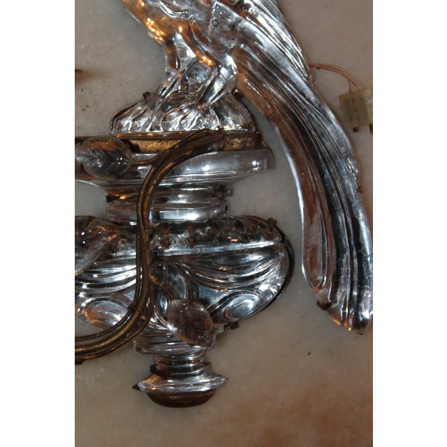 1920s Maison Bagues Signed French Art Deco Crystal & Bronze Parrot Sconce For Sale In Miami - Image 6 of 12