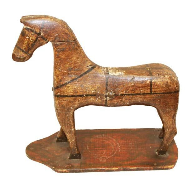 Folk Art 19th Century Folk Art Hand Carved and Painted Horse Statue For Sale - Image 3 of 7