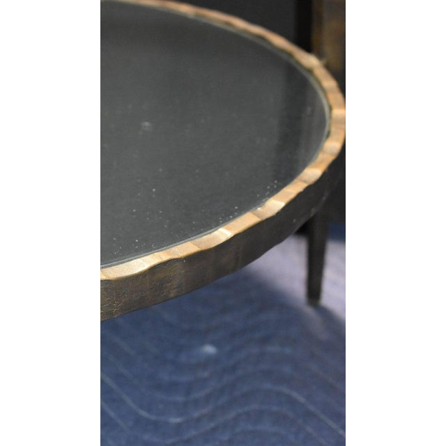 Metal 1960s Mid-Century Modern Hammered Iron Two Tiers Round Side Table For Sale - Image 7 of 9