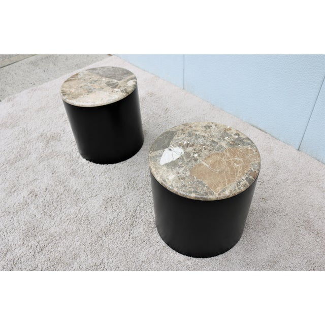 Paul Mayen Mid Century Modern Paul Mayen Style Brown Marble Top Drum Side Tables - a Pair For Sale - Image 4 of 13
