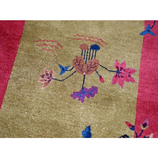 1920s 1920s, Handmade Antique Art Deco Chinese Rug 3.1' X 4.10' For Sale - Image 5 of 11