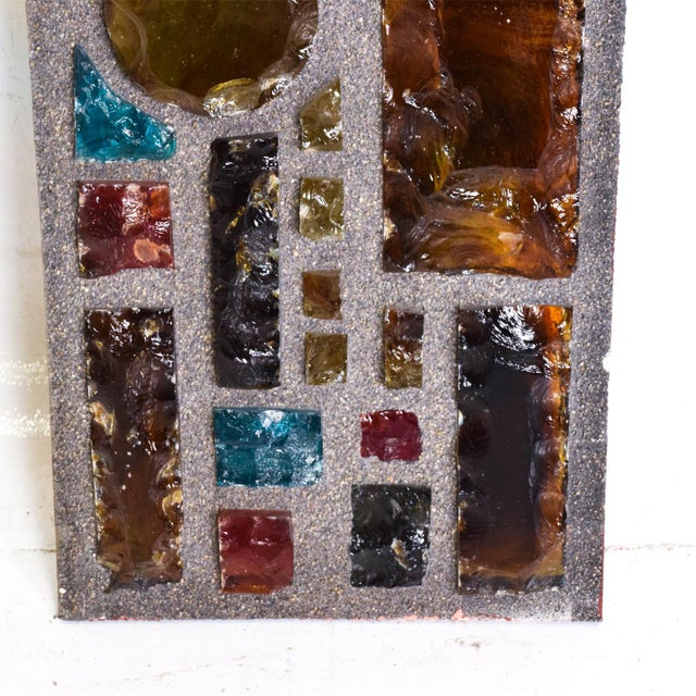 Glass Brutalist Period Architectural Wall Art Colored Glass Panel For Sale - Image 7 of 10