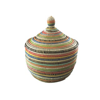 "Basket W/ Lid Senegal West Africa 14.5"" For Sale"