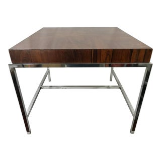 Mid Century Milo Baughan Style Rosewood and Chrome Coffee Table For Sale