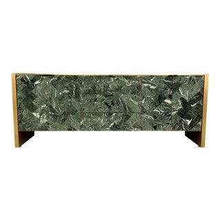 1980s Mid-Century Modern Ello Green Tessellated Marble and Brushed Brass Credenza For Sale