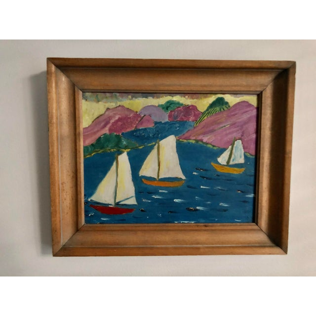 Folk Art Sailboat Painting For Sale - Image 4 of 4