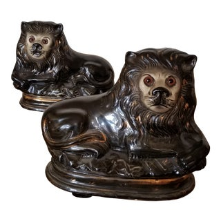 Pair of 19th Century Staffordshire Lions For Sale