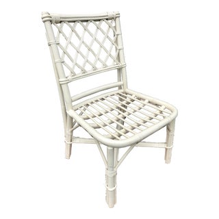 Ficks Reed White Woven Lattice Bamboo Rattan Chair For Sale