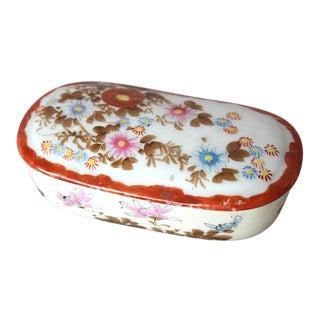 Antique Japanese Meiji Ceramic Trinket Box For Sale