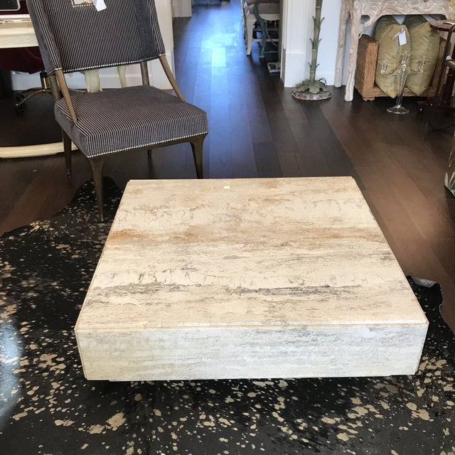 1970s Gorgeous Plinth Travertine Cocktail Table in the Manner of Baughman For Sale - Image 5 of 9