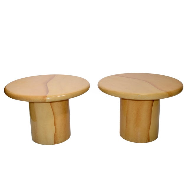 Karl Springer Style Lacquered Goatskin Top Side Tables Mid-Century Modern - Pair For Sale - Image 13 of 13