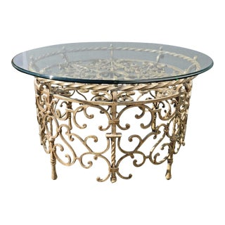 Vintage Spanish Monterrey Style Gold Wrought Iron & Glass Coffee Cocktail Table For Sale