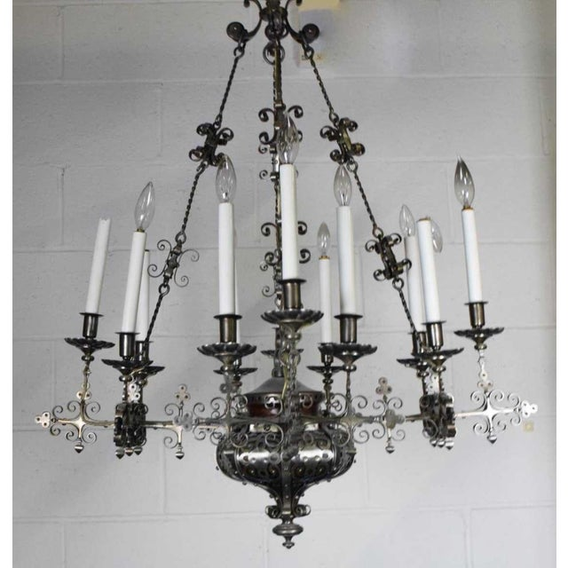 Traditional A Very Fine Continental Renaissance Style Steel Chandelier For Sale - Image 3 of 6