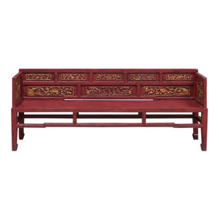 Vintage Chinese Qing Red Elm Wood Style Daybed