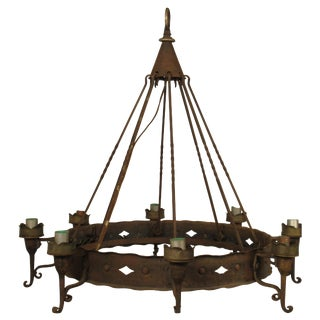 1940s Iron Gothic Chandelier For Sale