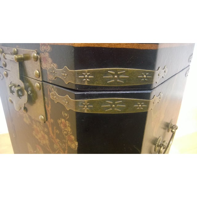 Asian Motif Painted Wood Umbrella Stand - Image 7 of 10