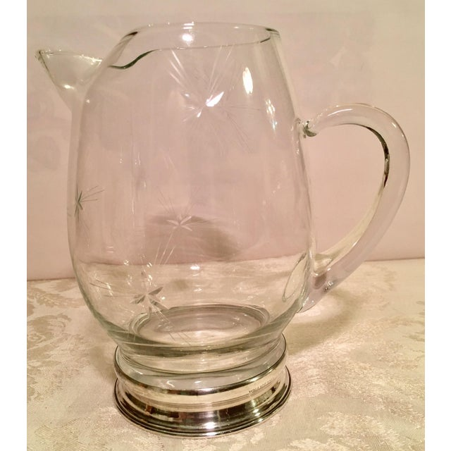 Glass Glass & Sterling Silver Cocktail Pitcher For Sale - Image 7 of 11