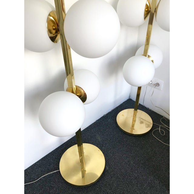 Contemporary Brass Floor Lamps Opaline Ball, Italy For Sale - Image 10 of 13