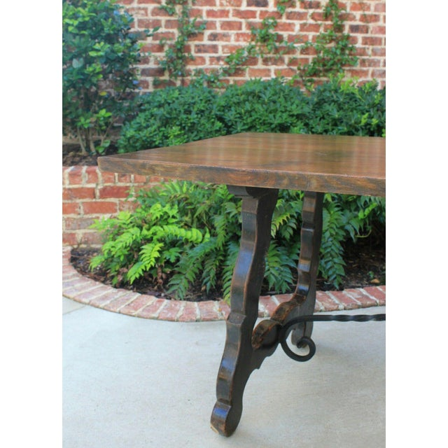 Antique French Spanish Oak 19th Century Mission Catalan Style Farmhouse Dining Table Desk For Sale - Image 4 of 13