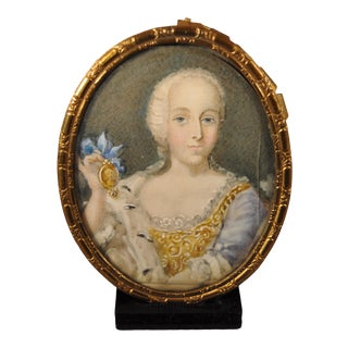 19th Century Miniature Portrait of Young French Woman Painting For Sale