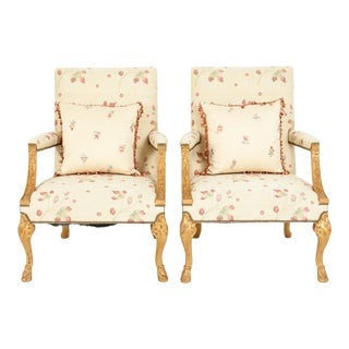 Mid-20th Century George II Style Giltwood Frame Armchairs - a Pair For Sale