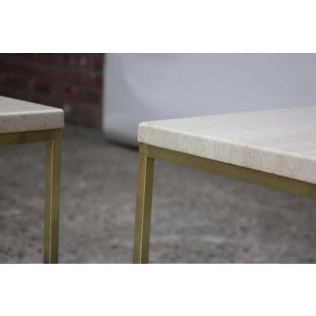 Metal Paul McCobb Travertine and Brass Occasional Tables For Sale - Image 7 of 13