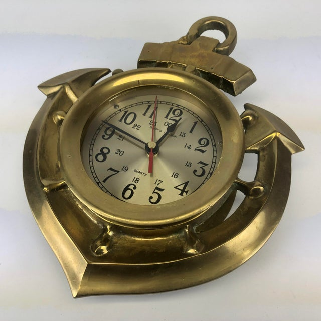 Vintage Brass Anchor Wall Clock For Sale - Image 9 of 11