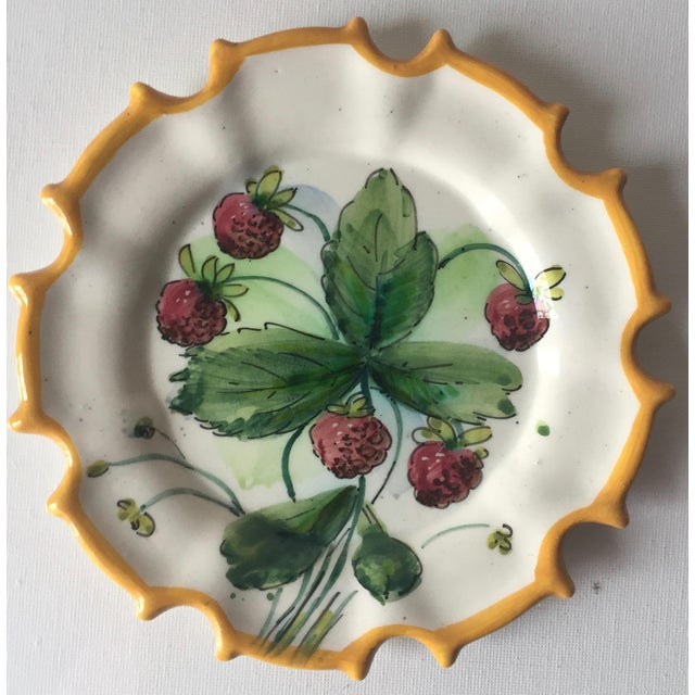 This utterly charming set of 6 hand-painted fluted edge faience coasters or hors d'oevre plates are perfect to display or...
