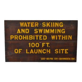 Antique Hand Painted Sign - No Swimming For Sale