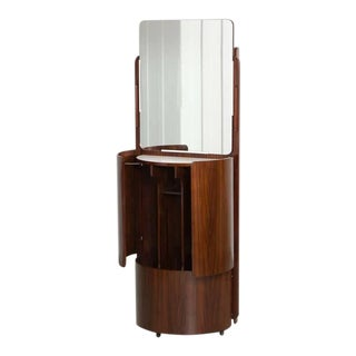 Round Italian Swivel Fold-Out Wardrobe or Vanity in Wood by Fiarm, 1960s For Sale
