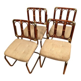 1980s Regency Bamboo Rattan Brass Cantilever Chromcraft Chairs - Set of 4 For Sale
