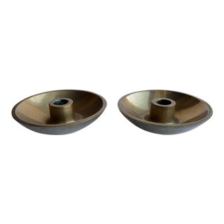 Danish Modern Brass Candle Holders - A Pair