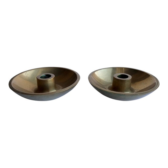 Danish Modern Brass Candle Holders - A Pair For Sale