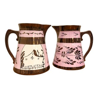 Vintage Pink and Copper Lustreware Pitchers - a Pair For Sale