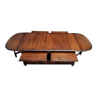 Danish Rustic Distressed Expandable Coffee Table For Sale