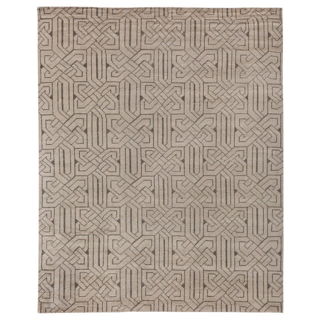 Cambrai Flatweave Wool Ivory/Gray Rug - 9'x12' For Sale