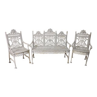 White Painted Cast Iron Garden Suite- Set of 3 For Sale