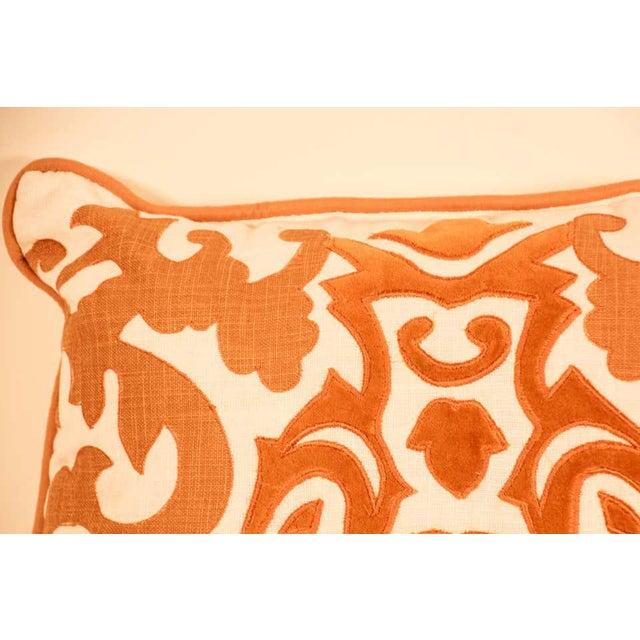 Decorative Silk Velvet Applique Throw Pillow For Sale - Image 9 of 11