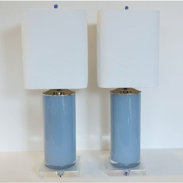 Silver Fox Blue Cylinder Glass Lamps - A Pair - Image 2 of 6